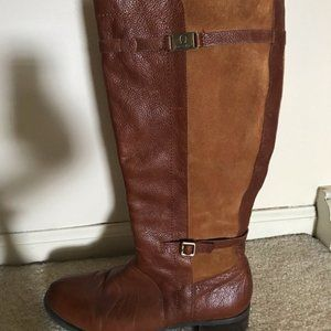 Etienne Aigner Leahter Suede Brown Riding Boot